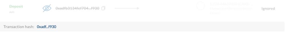 Example of ignored LP Token Deposit