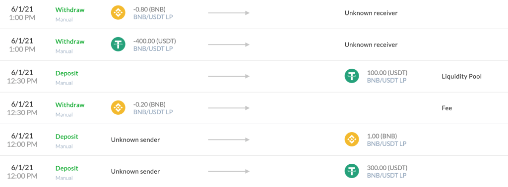 Example of fixing the discrepancies when exiting the liquidity pool