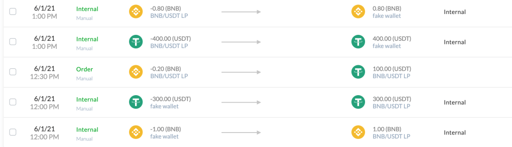 Example of the transactions in your liquidity pool wallet after using the proposed method