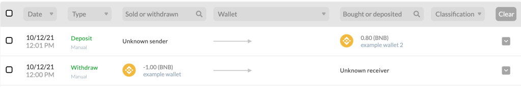 example of an unclassified transfer of differing amounts from one wallet to another.