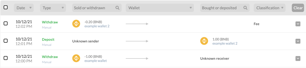 example of an unclassified transfer of matching amounts and a fee withdrawal.